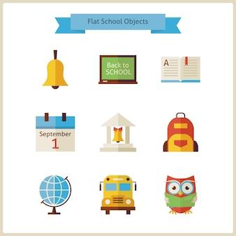 Retour à plat à l'ensemble d'objets scolaires et scientifiques. illustrations vectorielles de style plat. retour à l'école. ensemble de science et d'éducation. collection d'objets isolés sur blanc.