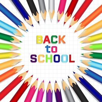Retour réaliste au fond de l'école avec des crayons