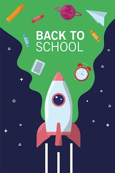 Retour à la saison de lettrage scolaire avec fusée et flux de fournitures