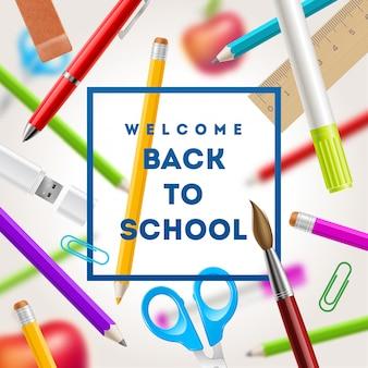 Retour à la salutation de l'école - illustration avec articles de papeterie