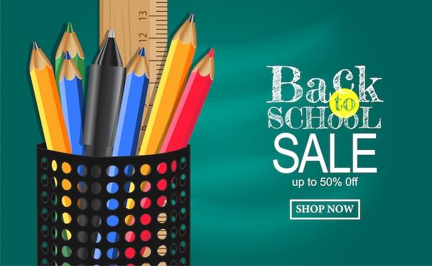 Retour à la vente d'école bannière avec étui à crayons