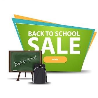 Retour à la vente d'école, bannière de réduction avec un bouton