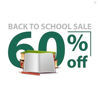 Retour à la vente de l'école, bannière de remise élégante blanche avec un grand nombre