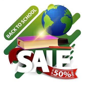 Retour à la vente d'école, bannière de remise moderne avec globe et manuels scolaires
