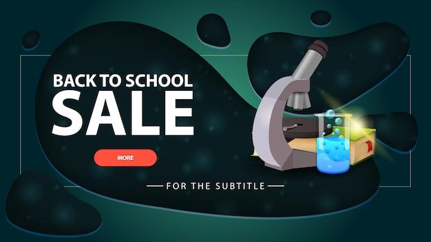 Retour à la vente de l'école, bannière de remise verte au design moderne pour votre site web avec microscope