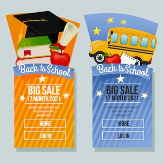 Retour à la vente de l'école bannière verticale des produits scolaires