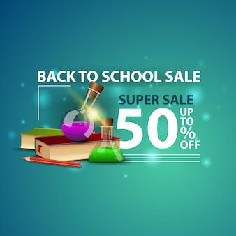 Retour à la vente de l'école, bannière web 3d créative moderne avec des livres et des flacons de produits chimiques