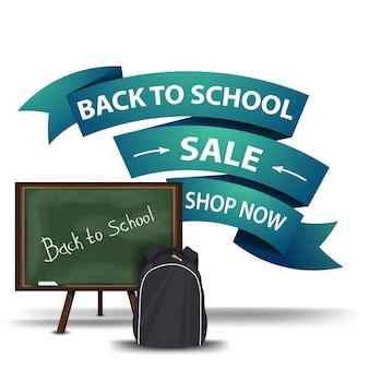 Retour à la vente d'école, bannière web cliquable à prix réduit sous forme de rubans
