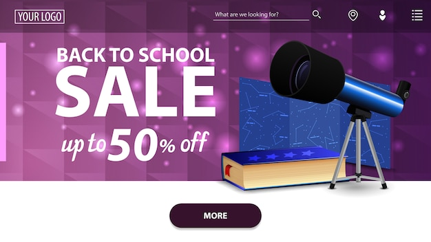 Retour à la vente de l'école, bannière web horizontale pourpre moderne avec télescope