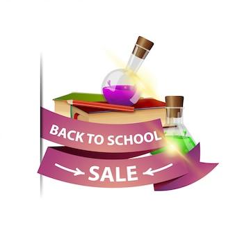 Retour à la vente d'école, bannière web isolée avec ruban, livres et flacons de produits chimiques