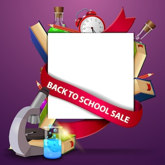 Retour à la vente d'école, modèle de bannière web