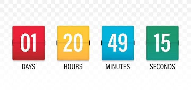 Retournez le compte à rebours. minuterie d'horloge pour venir bientôt ou en construction. tableau de bord du compte à rebours du temps restant avec tableau de bord du jour, de l'heure, des minutes et des secondes pour l'événement à venir de la page web