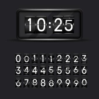 Retournez les numéros d'horloge. animation de compte à rebours rétro, numéro de tableau de bord mécanique et flips de compteur numérique. minuterie d'alarme, compteur de date jour de score ou chiffres d'affichage de l'heure ensemble de symboles vectoriels