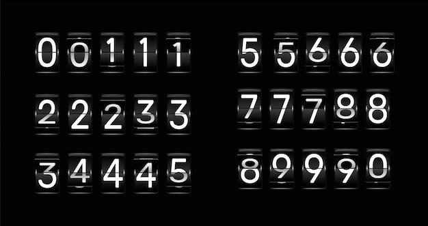 Retournez les numéros d'horloge. animation de compte à rebours rétro, numéro de tableau de bord mécanique et flips de compteur numérique.