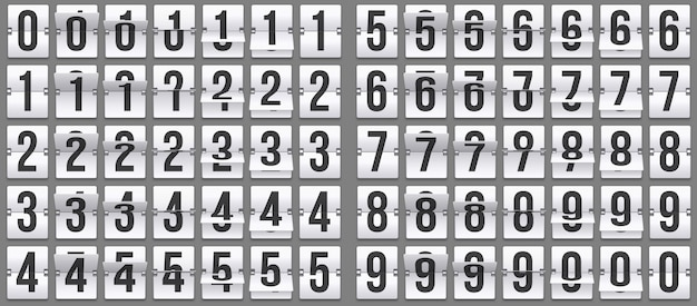 Retournez les numéros d'horloge. animation de compte à rebours rétro, numéro de tableau de bord mécanique et jeu de flips de compteur numérique