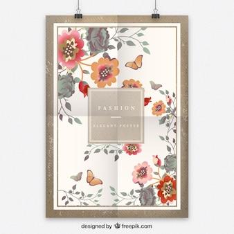Rétro affiche florale