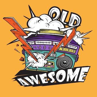 Retro awesome music radio dessiné à la main