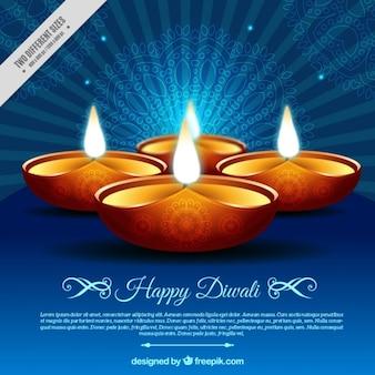 Retro background diwali de bougies