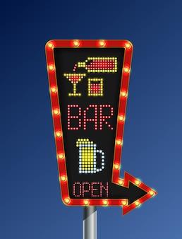 Rétro bannière de lumière flèche ouverte bar fond bleu