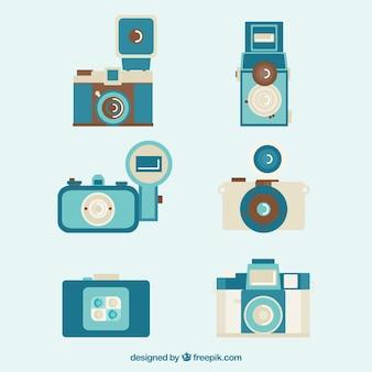 Rétro bleu collection de caméras
