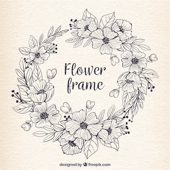 Rétro cadre de fleurs dessinées à la main