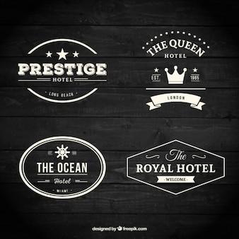Rétro collection de badges d'hôtel