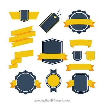 Rétro collection de badges avec des rubans jaunes