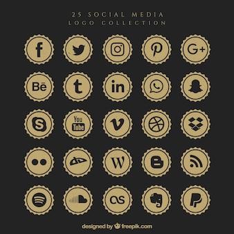 Retro collection logo des médias sociaux