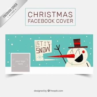 Retro couvercle drôle de bonhomme de neige facebook