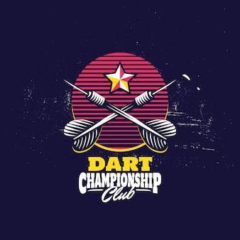 Retro darts badge logo