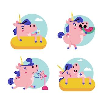 Rétro dessin animé ukko la collection d'autocollants licorne