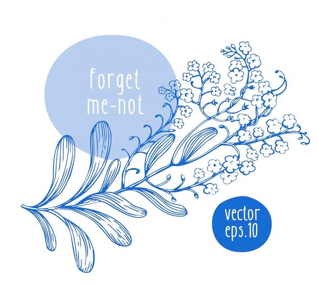 Rétro dessiné à la main m'a oublié pas avec des fleurs