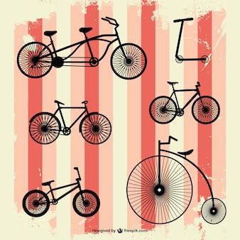 Rétro ensemble de vecteur de vélos