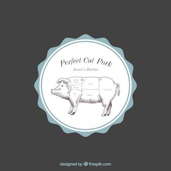 Retro farm fresh porc sunburst étiquette