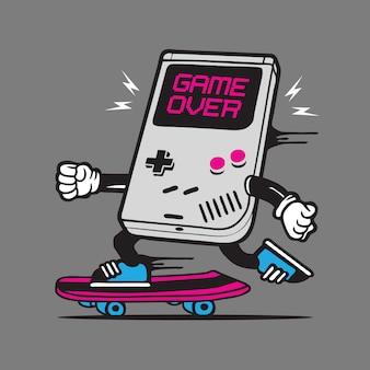 Rétro gamer skate skateboard character design