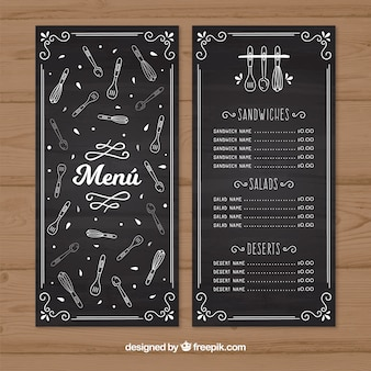 Rétro menu du restaurant avec des croquis