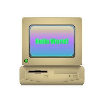 Rétro ordinateur allumé
