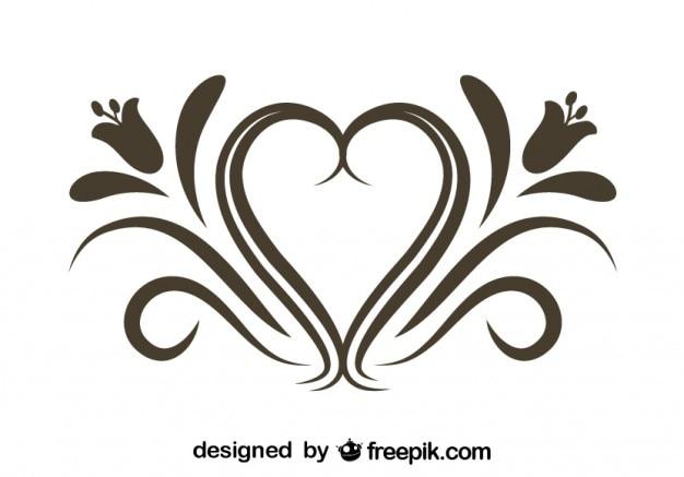 Rétro ornement floral de coeur élément graphique