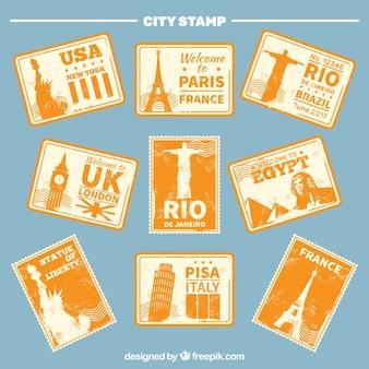 Rétro pack d'autocollants urbains aux tons orange