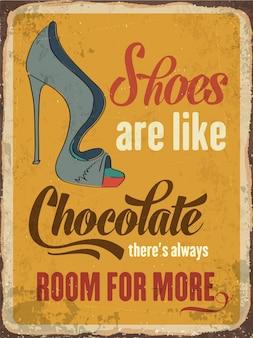 Rétro panneau métallique à propos des chaussures