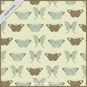 Retro pattern de papillons dessinés à la main