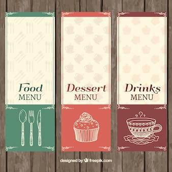 Retro restaurant menus