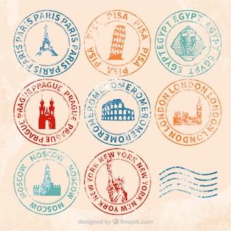 Rétro sélection de timbres de villes avec différentes couleurs