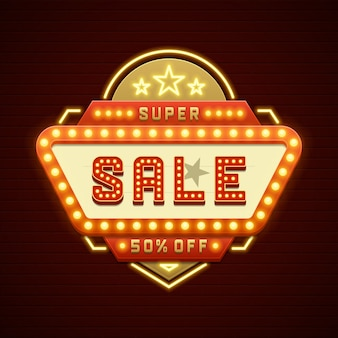 Rétro showtime signe vente cinéma signalisation ampoules cadre et lampes au néon