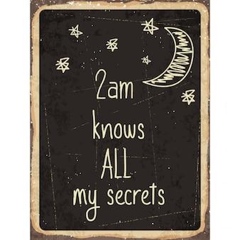 Rétro signe de métal 2 heures sait tous mes secrets