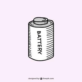 Rétro vecteur de croquis de la batterie