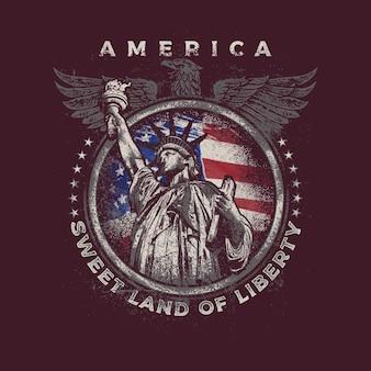 Retro vintage america pygargue à tête blanche 2e amendement lady liberty tshirt design
