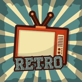 Rétro vintage appareil de télévision style grunge demi-teinte