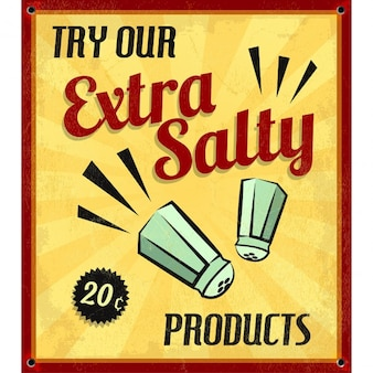 Retro vintage extra salty tin sign