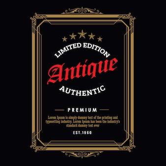 Rétro vintage frontière whisky cadre antique gravure étiquette occidentale